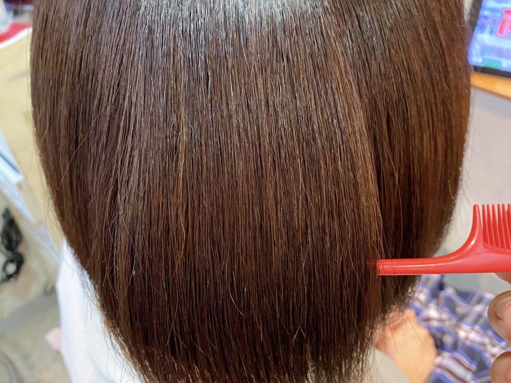 7/26の髪質改善カラーをされたお客様の上からの写真