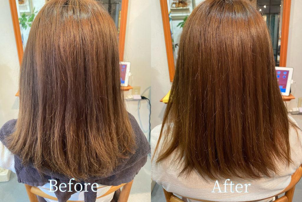 6月の初回来店時の髪質改善カラーのbefore、after